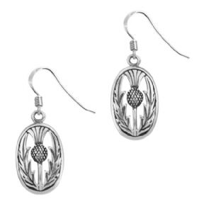 Scottish Thistle Silver Oval Drop Earrings 0537
